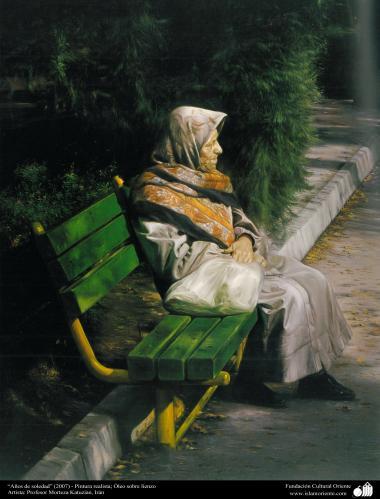 """Arte islamica-Pittura-Olio su tela-Opera di maestro Morteza Katusian-""""Anno della solitudine""""-2007"""