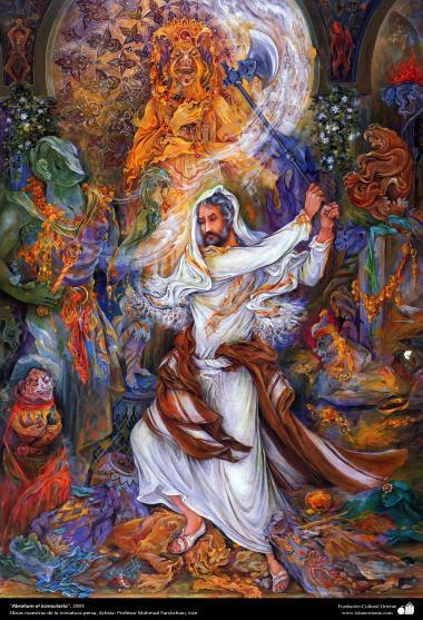 """""""Abraham el iconoclasta"""", 2003, Obras maestras de la miniatura persa; por Profesor Mahmud Farshchian, Irán"""