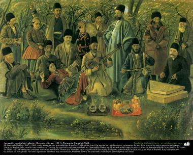 """Arte islamica-Pittura-Olio su tela-Opera di maestro Kamal ol-Molk,""""Esecuzione musicale nel palazzo""""-1911"""
