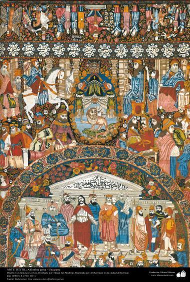 Arte Islâmica - Tapete persa feito na cidade de Kerman, Irã. No ano 1911 d.C - 1