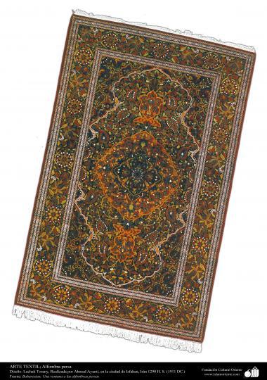 هنر اسلامی - صنایع دستی - هنر نساجی قالی -  قالیچه فارسی - اصفهان ، ایران در سال 1911 - 89