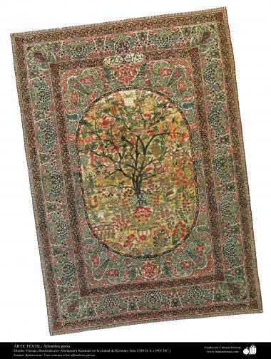 Tapete persa com desenho de paissagem, feito na cidade de Kerman – Irã em 1901