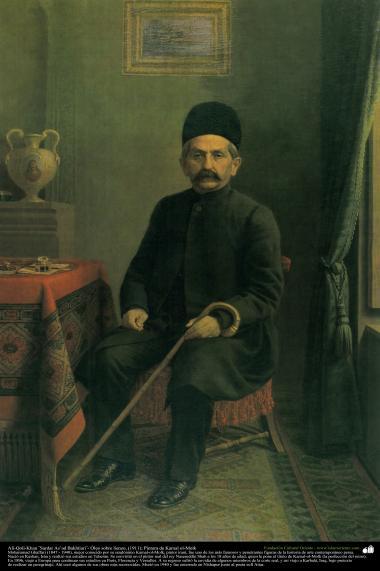 イスラム美術(キャンバス油絵、カマルモルク画家の「アリゴリハンサルダルアスアドバヘテヤリ」(1911年)