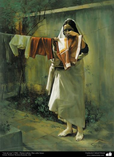 """Housewife"" (1986) - Realistic Painting; Oil on Canvas- Artist: Prof. Morteza Katuzian"