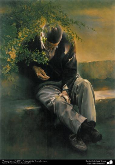 """Arte islamica-Pittura-Olio su tela-Opera di maestro Morteza Katusian-""""Anziano stanco""""-2005"""