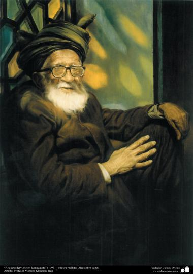 """an old dervich"" (1996) - Realistic Painting; Oil on Canvas - Artist: Prof. Morteza Katuzian, Iran"