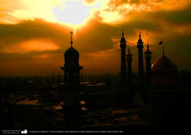 معماری اسلامی - نمایی از حرم حضرت معصومه (س) در لحظه غروب - شهر مقدس قم  - 3