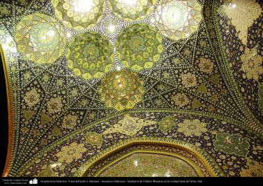 Islamic Architecture & mosaic - View of ceiling lamp - Shrine of Fatima Masuma in the holy city of Qom (15)