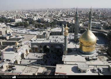 Architettura islamica-Vista aerea di cupola e minareto d'oro del santuario di Fatima Masuma-Qom-3