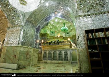 Arquitectura Islámica- Vista de la tumba y sala de los espejosel en el santuario de Fátima Masuma en la ciudad santa de Qom