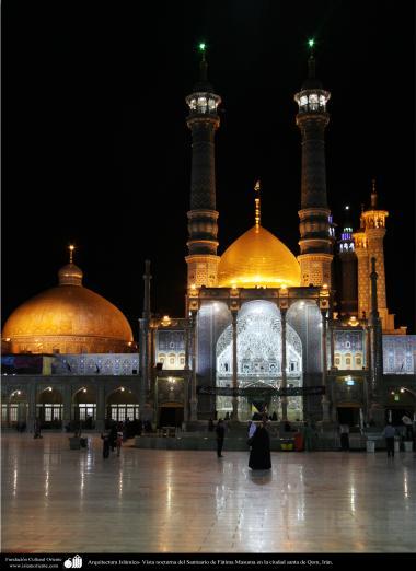 Arquitetura Islâmica - Vista noturna do Santuário de Fátima Masuma (SA) na cidade Santa de Qom, Irã 11