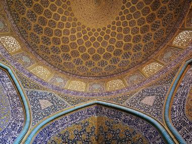 Arquitectura islámica- Vista interna de la cúpula de la mezquita Sheij Lotf Allah (o Lotfollah)-Isfahán- Irán (18)