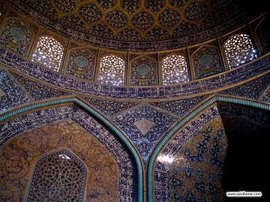 Islamic Architecture - Interior view of the dome of the mosque Sheikh Lotf Allah (or Lotfollah) - Isfahan  (5)