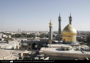 معماری اسلامی - نمایی از گنبد و مناره حرم حضرت فاطمه معصومه در شهرستان مقدس قم - 83