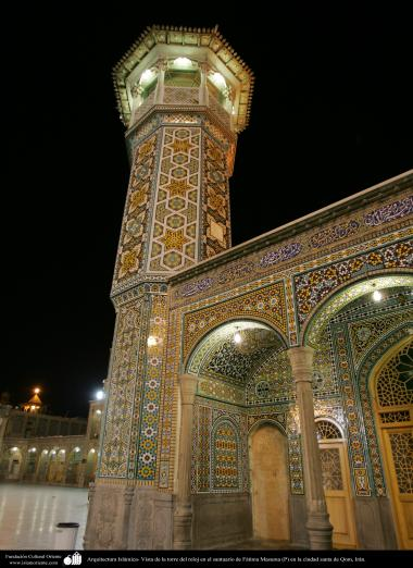 Islamic Architecture - View of the clock tower at the shrine of Fatima Masuma (P) in the holy city of Qom - 94