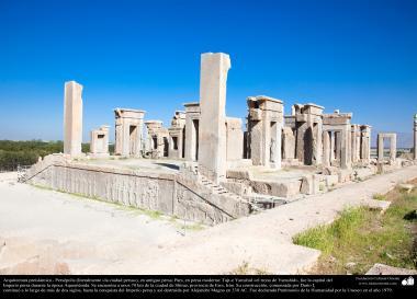"""اسلام سے پہلے ایرانی فن تعمیر - """"تخت جمشید"""" نام کا آثار قدیمہ شیراز کے شہر میں  """"پرسپولیس"""" - ۲"""