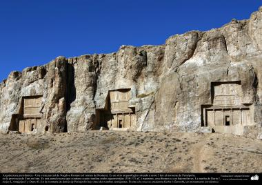 Preislamic Arquitechture - Partial View of Naqsh-e Rostam (Rostam's portrait), near Persepolis, Fars - Shiraz - 3