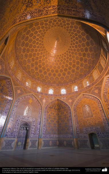 Исламская архитектура - Облицовка кафельной плиткой (Каши Кари) и Фасад купола мечети Шейха Лютфуллы в Исфахане , Иран – 50