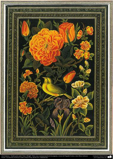 الفن الإسلامي - الفارسي التذهيب نمط من الزهور والطيور - تستخدم لتزيين لوحات ونصوص قيمة مثل القرآن الكريم - 43