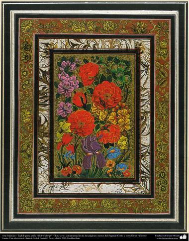 "Arte Islámico - Tazhib persa estilo ""Gol-o Morgh"" - Flor y ave (44)"