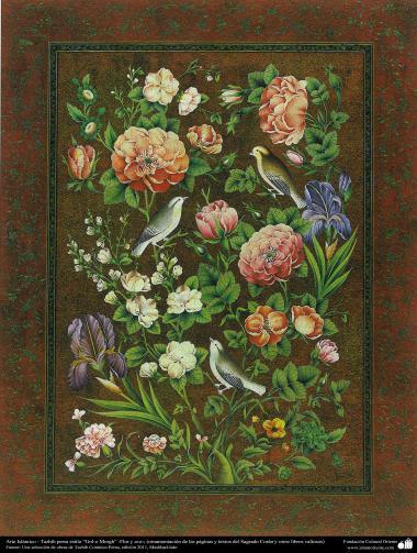 Arte Islâmica - Tazhib persa estilo Gol o Morgh (flor e ave) - Ornamentação das paginas e textos valiosos como o Alcorão - 4