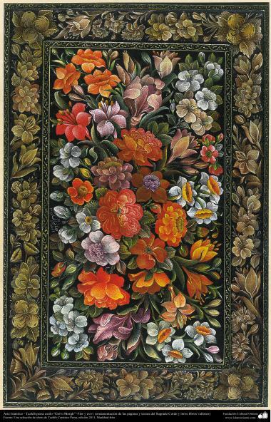 "Arte Islámico-Tazhib persa estilo ""Gol-o Morgh"" -Flor y ave- 33"