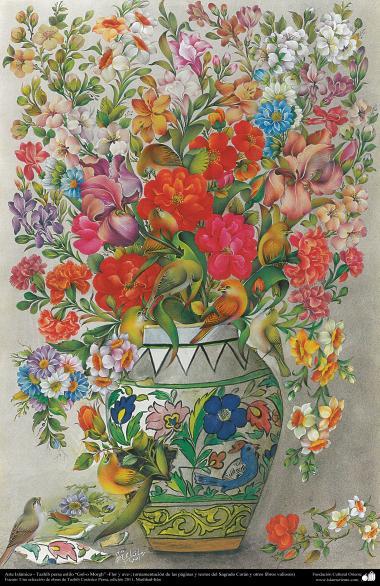 Arte Islâmica - Tazhib persa estilo Gol o Morgh (flor e ave) - Ornamentação das paginas e textos valiosos como o Alcorão - 19