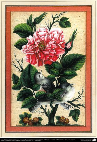 "Arte Islámico-Tazhib persa estilo ""Gol-o Morgh"" -Flor y ave- 18"
