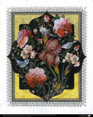 """Tazhib Islamische Kunst - Persisches Stil """"Gol-o Morgh"""" - Blume und Vogel - 43 - Islamische Kunst - Tazhib (Verzierungen von wertvollen Seiten und Texten)"""