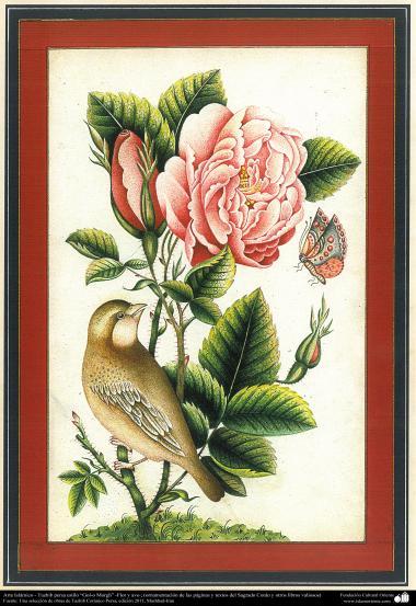 "Arte Islámico-Tazhib persa estilo ""Gol-o Morgh"" -Flor y ave - 9"