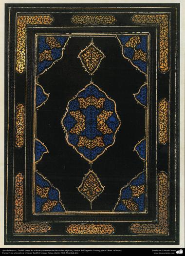 """Islamische Kunst, persisches Tazhib von Abdeckungen (Verzierung von Seiten und Texten des heiligen Koran´s und anderen heiligen Büchern) - Tazhib, """"Goshaiesh"""" Stil (Einführung) und ähnliche"""