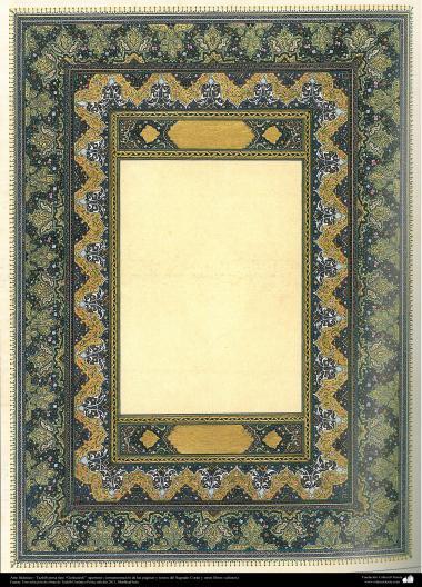 """Islamische Kunst - Persisches Tahzib Type """"Goshaiesh"""" -Einführung-; (Verzierungen von wertvollen Seiten und Texten wie der heilige Koran) - 59 - Tazhib, """"Goshaiesh"""" Stil (Einführung) und ähnliche"""