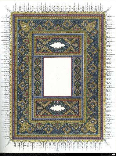 """Islamische Kunst - Persisches Tahzib Type """"Goshaiesh"""" -Einführung-; (Verzierungen von wertvollen Seiten und Texten wie der heilige Koran) - 61 - Tazhib, """"Goshaiesh"""" Stil (Einführung) und ähnliche"""