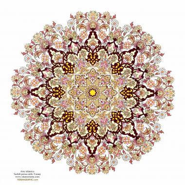 イスラム美術(ペルシアのトランジとシャムス(太陽)スタイルのタズヒーブ(Tazhib)、 絵画やミニチュアでのページやテキストの装飾)-16