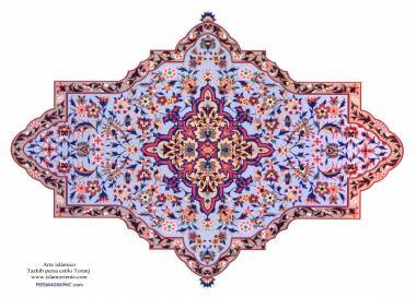 イスラム美術(ペルシアのトランジとシャムス(太陽)スタイルのタズヒーブ(Tazhib)、 絵画やミニチュアでのページやテキストの装飾)- 11