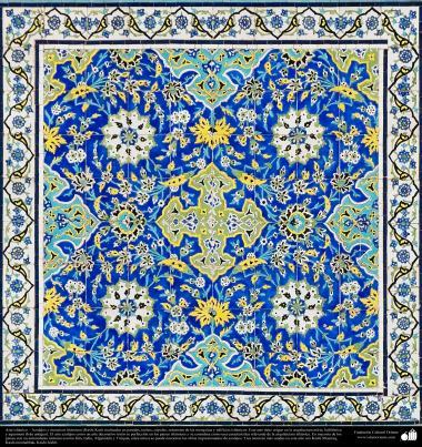 معماری اسلامی - نمایی ازطرح کاشی های استفاده شده در دیوارها، سقف ، گنبد، مناره برای دکوراسیون مساجد و ساختمان ها در جهان اسلام - 95
