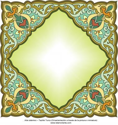 Arte islamica-Tazhib(Indoratura) persiana lo stile Toranj e Shams,Ornamento con dipinto o miniatura-90