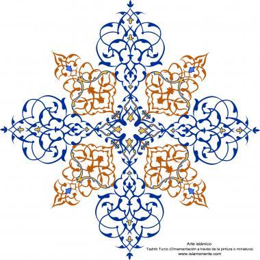 イスラム美術(ペルシアのトランジとシャムス(太陽)スタイルのタズヒーブ(Tazhib)、 絵画やミニチュアでの装飾)-74
