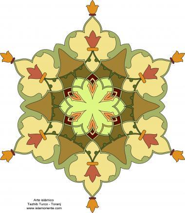 イスラム美術(ペルシアのトランジとシャムス(太陽)スタイルのタズヒーブ(Tazhib)、 絵画やミニチュアでの装飾)-トルコ