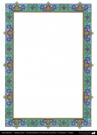 Islamische Kunst - Persisches Tazhib - Rahmen - 79 - Tazhib (Verzierungen von wertvollen Seiten und Texten) - Tazhib im Kader