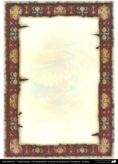 イスラム美術 - ペルシャのタズヒーブ(Tazhib)の彩飾枠の縁 - 48