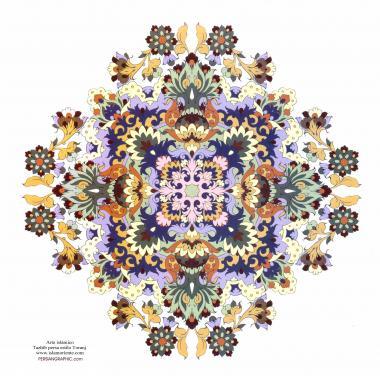 الفن الإسلامي - تذهیب الفارسی بأسلوب البرغموت و الشمس - تزیین من الطریق الرسم أو المنمنمة