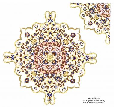 Arte islamica-Tazhib(Indoratura) persiana lo stile Toranj e Shams,Ornamento mediante dipinto o miniatura-121
