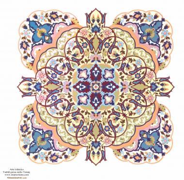 الفن الإسلامي - تذهیب الفارسی بأسلوب البرغموت و الشمس - تزیین من الطریق الرسم أو المنمنمة – 6