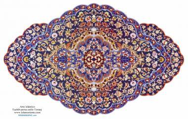 """Исламское искусство - Персидский тезхип , стиль """" Торандж и Шамс """" ( Бергамот и Солнце ) - Украшение живописью или миниатюрой - 3"""