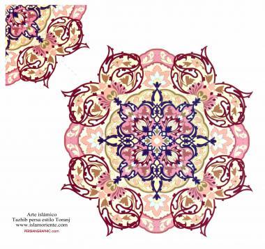 """اسلامی ہنر - فن تذہیب میں """"ترنج و شمس"""" (سورج) کی اسٹائل قیمتی صفحات اور عبارات کی سجاوٹ کے لیے - ۶۲"""