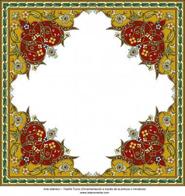 Arte islamica-Tazhib(Indoratura) persiana lo stile Toranj e Shams,Ornamento con dipinto o miniatura-56