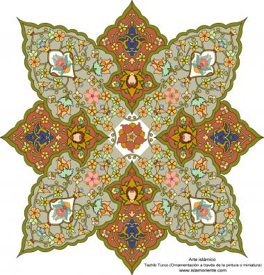 """Islamische Kunst - Türkisches Tazhib (Verzierungen durch Malerei und Miniatur) - Tazhib (Verzierungen von wertvollen Seiten und Texten) - Tazhib, """"Toranj"""" und """"Shamse"""" Stile (Mandala)"""