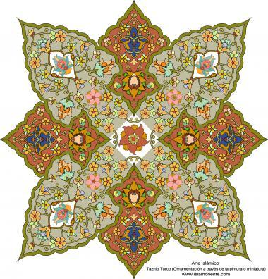 الفن الإسلامي - تذهیب الفارسی بأسلوب البرغموت و الشمس – تزیین من الطریق الرسم أو المنمنمة - 52