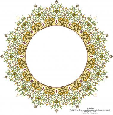 Arte islamica-Tazhib(Indoratura) persiana lo stile Toranj e Shams,Ornamento mediante dipinto o miniatura-91